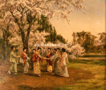Spiel unter blühenden Kirschbäumen