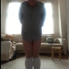 Doing cornertime punishment while holding a mouthful of piss. No reason not to work those calfs!