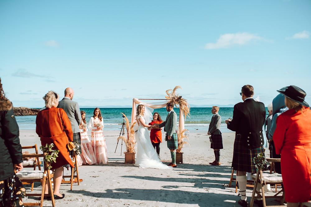 Boho beach wedding ceremony Scotland