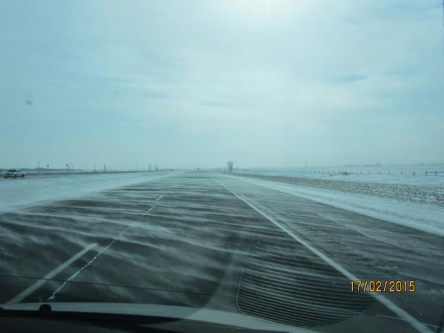 Snowy, cold, flat roads