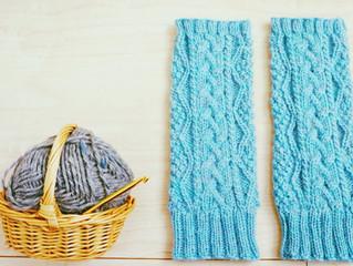 編み物教室 アラン模様のアームウォーマー
