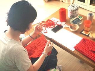 編み物教室 クラッチバックレッスン