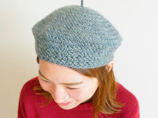 ヘリボーン編みのベレー帽