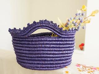 編み物教室 グレープカラー包み編みかごバック