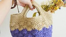 麻糸で編むミニバック