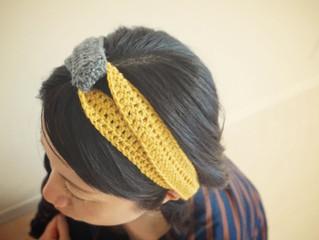 編み物教室 バイカラークロスヘアバンド