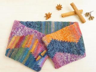 編み物教室 縦渡しの編み込みスヌード