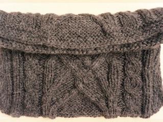 編み物教室 アラン模様のクラッチバック