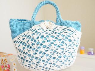 編み物教室 2WAYブルー&レースかごバック
