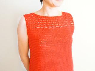 編み物教室 こっくり秋色レッドのノースリーブ