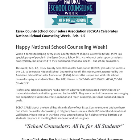 ECSCA Celebrates National School Counseling Week!