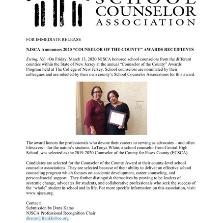 "NJSCA Announces 2020 ""Counselor of the County"" Awards Receipients"