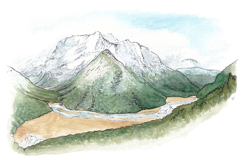 Watercolour painting of Routeburn Flats