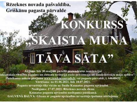 """KONKURSS """"SKAISTA MUNA TĀVA SĀTA"""""""