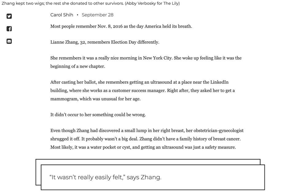 To see full story, visit https://www.thelily.com/lianne-zhang-discovered-she-had-breast-cancer-the-day-after-election-day/