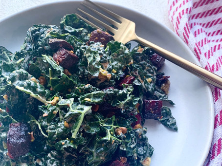 Roasted Beet & Kale Salad w/ Creamy Citrus Vinaigrette