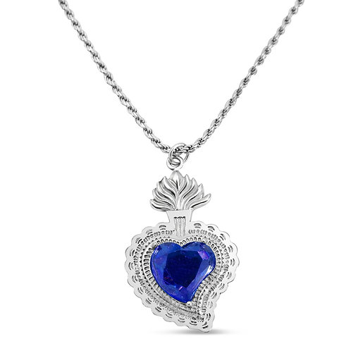 Radiant Heart Rope Necklace (Blue)