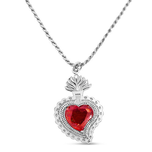 Radiant Heart Rope Necklace (Red)
