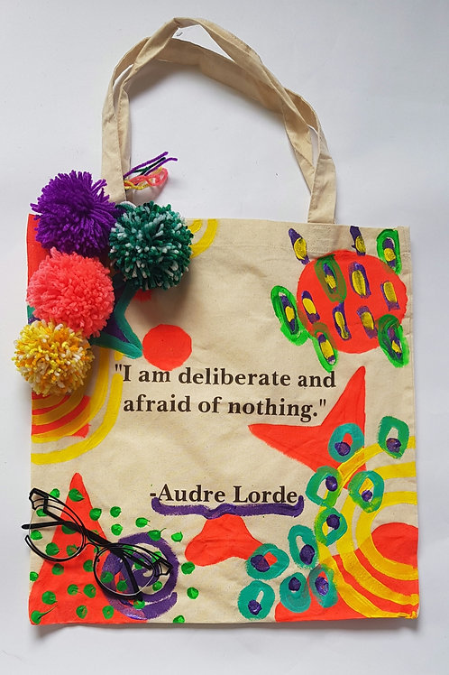 Audre Lorde Small Canvas bag with Pom Poms