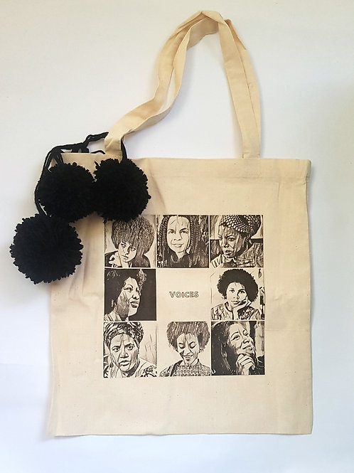 Voices- small canvas bag with pom poms