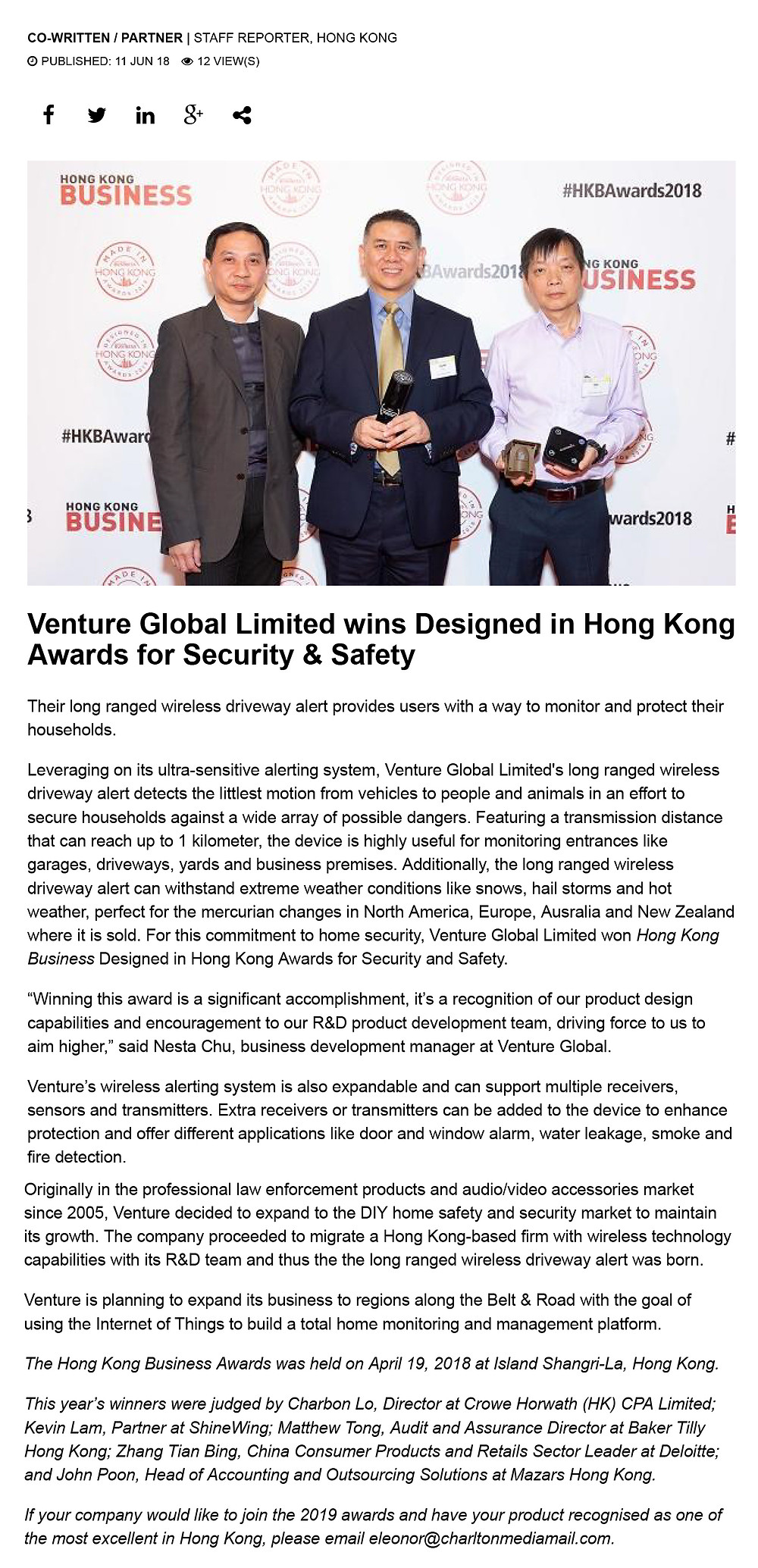 VENTURE redefines safety and security with the Long-ranged Wireless Driveway Alert May 2, 2018  |  Hong Kong Business Magazine May 2018  Sources from: Hong Kong Business Magazine (Online version 11 jun 2018