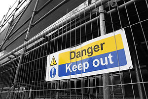 Danger Keep Out sign with black and whit