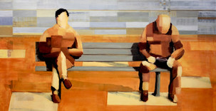 Two guys on a Bench (squares)