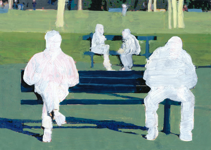 2 Men on a Bench (white)