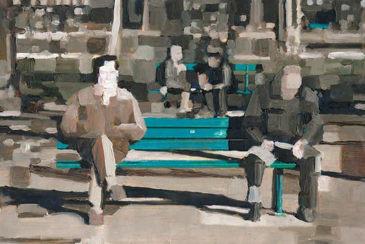2 Men on a Bench (pixels) triptych