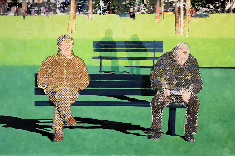 2 Men on a Bench (dots)