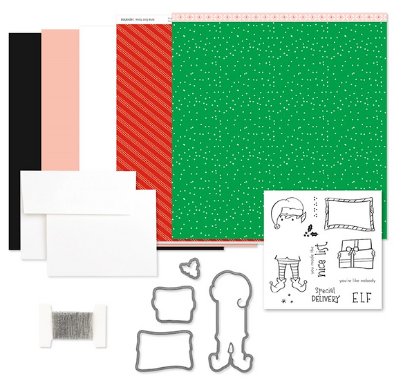 G1191 Holly Jolly Card Kit with stamp set and thin cut