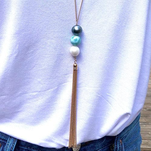 Sautoir Pompon 3 perles