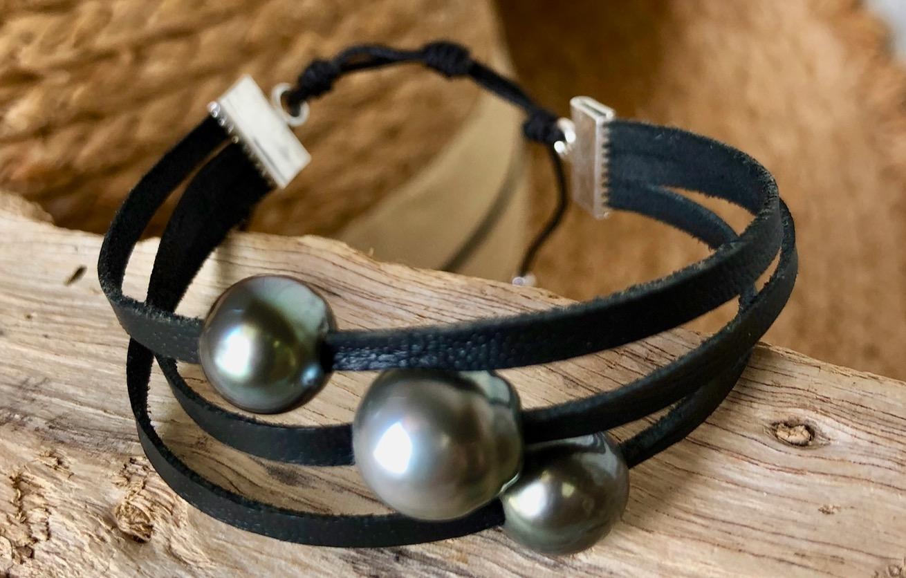Bracelet Triple cuir & perles de Tahiti