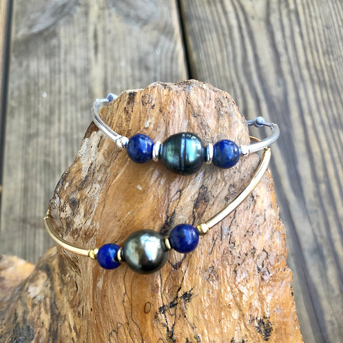 Bracelet perle de Tahiti & Lapis lazuli 🌺🌸