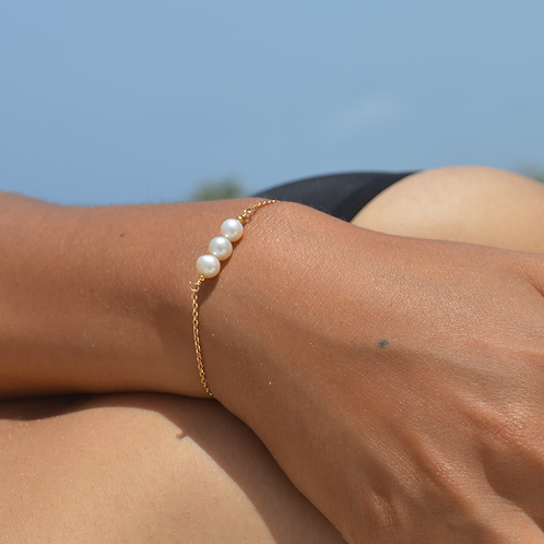 Bracelet Chaîne Perles d'eau  ✨⚪️