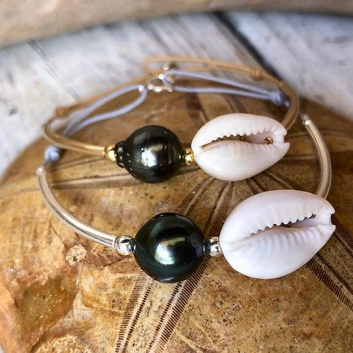 Bracelet perle de Tahiti & Cauri 🐚🐚
