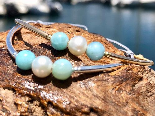 Bracelet Perle d'eau blanche & Larimar ✨⚪️