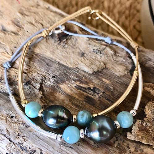 Bracelet perle de Tahiti & Larimar 💎💎