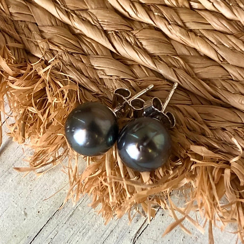 Puces Argent perles de Tahiti 🌺🌸