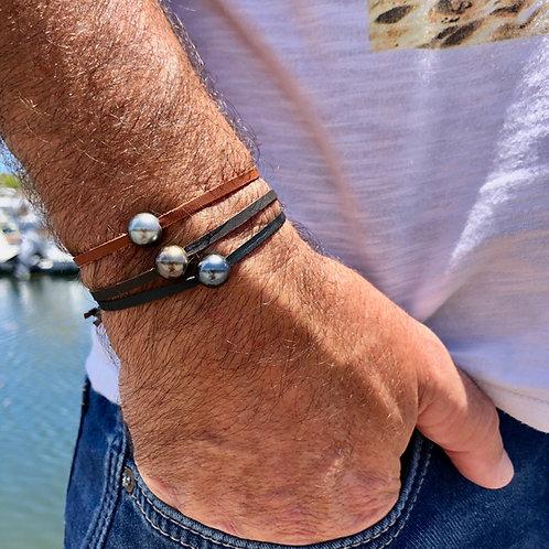 Bracelet cuir perle de Tahiti 🌵🌵
