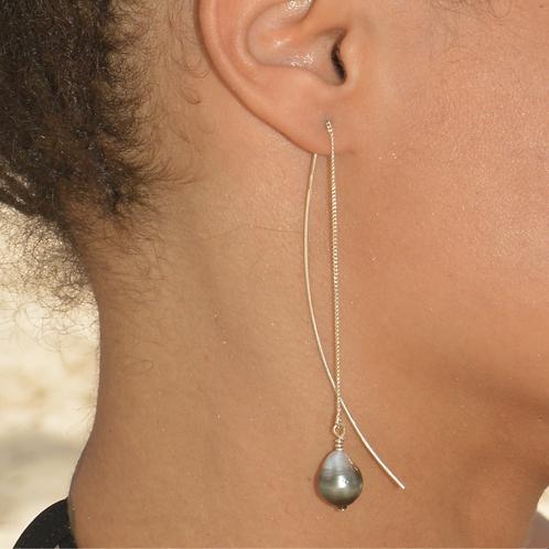 Crochets longs argent Perles de Tahiti 🌺🌸