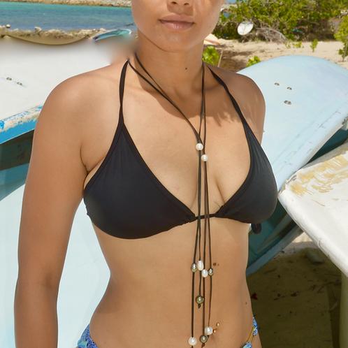 Sautoir cravate  cuir perles de Tahiti & Perles d'eau 🌺🌸