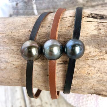 Bracelet cuir & perle de Tahiti