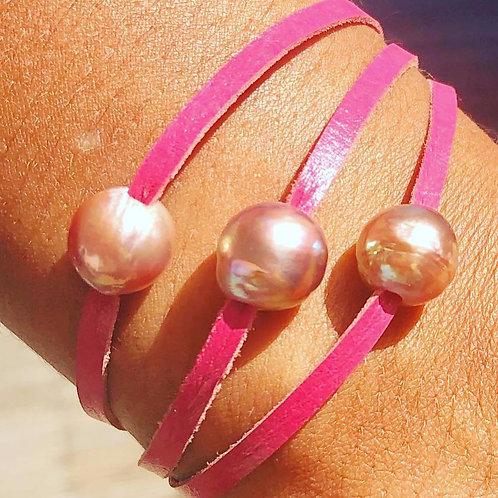 Bracelet perles d'eau Cuir Rose  ✨⚪️