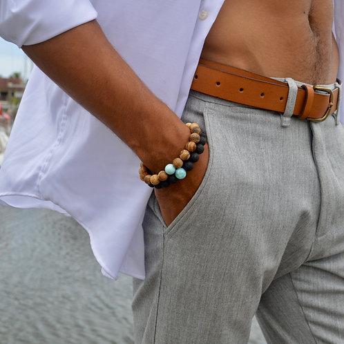 Bracelet Larimar Jaspe ou Pierre de Lave XL 🌵🌵