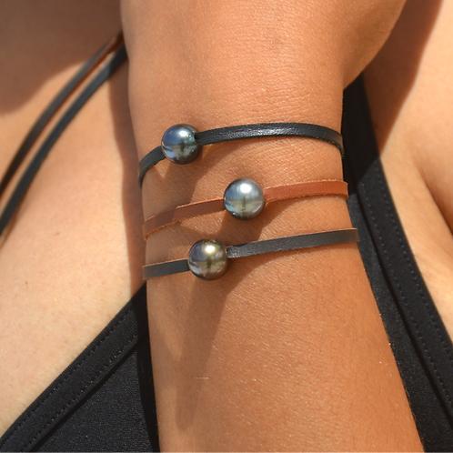 Bracelet cuir perle de Tahiti 🌺🌸
