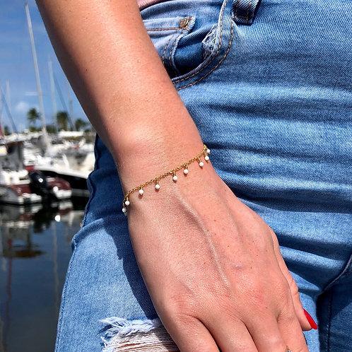 Bracelet perlé et agathe