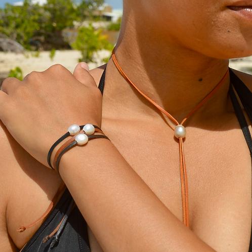 Bracelet cuir Perle d'eau ✨⚪️