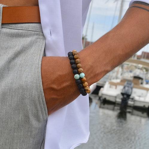 Bracelet Larimar Jaspe ou Pierre de Lave Medium 🌵🌵