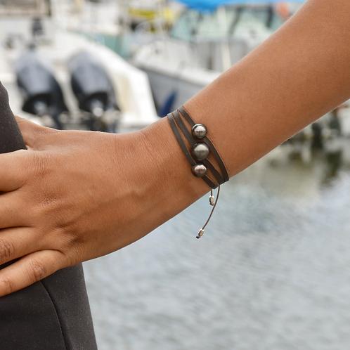 Bracelet triple cuir  3 perles de Tahiti 🌺🌸